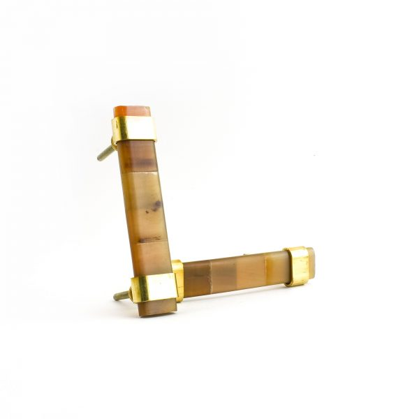 Medium Brown Horn and Brass Handle