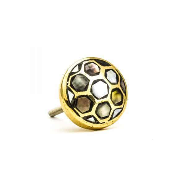 Gold and Black Shell Honeycomb Knob
