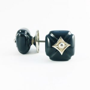 Black Vintage Inspired Ceramic Knob with Silver Hardware