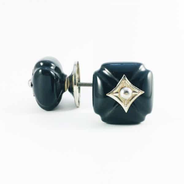 Black Vintage Inspired Ceramic Knob with Silver Hardware