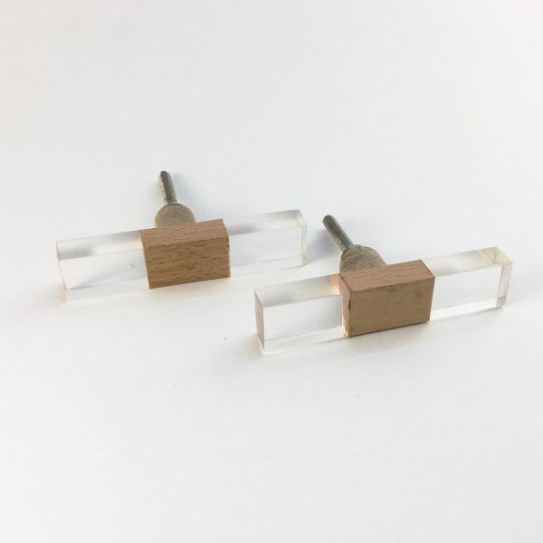 slimline square and resin pull 2 600x600 - Rectangle Slimline Wood and Acrylic Pull Bar Knob