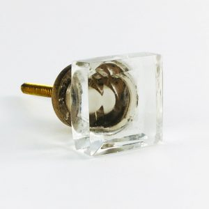 small square glass cube knob 4 300x300 - Small Clear Square Solid Glass Knob