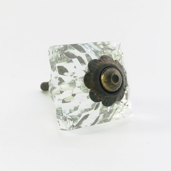 Square Patterned Clear Glass Knob  - Antique Gold