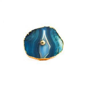Blue and White Swirled Agate Sliced Knob