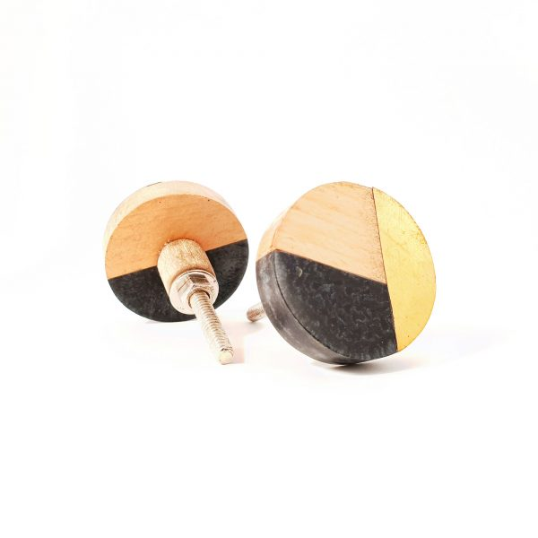 Round Black Speckled Trio Knob