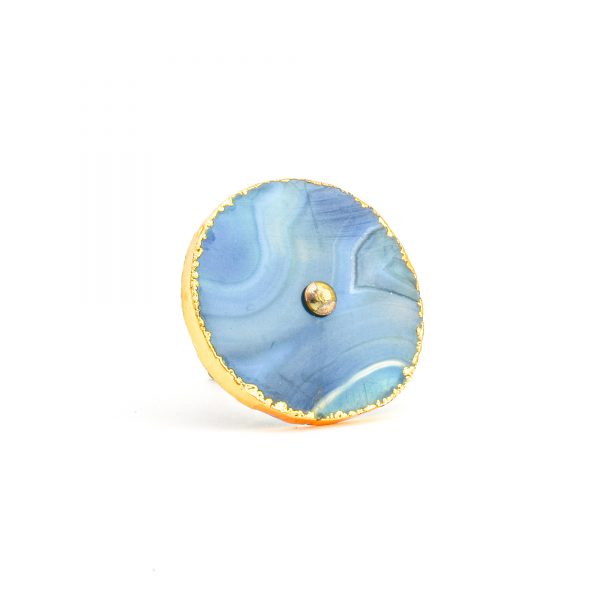 Blue, White, Swirled Agate Sliced Knob
