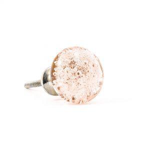 Pink Bubbled Glass Knob
