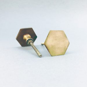 Antique Gold Slimline Hexagon Knob
