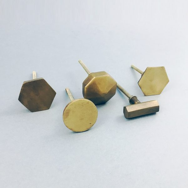 antiques gold iron knobs group 4 600x600 - Antique Gold Octagon Prism Knob