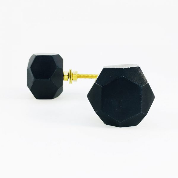 Black Solid Geometric Marble Knob