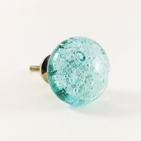 Blue Bubbled Glass Knob