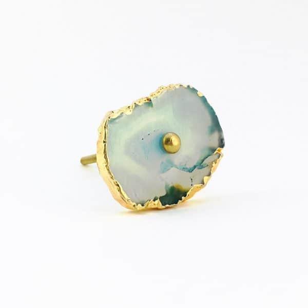 blue turquoise agate knob 10 600x600 - Blue, White, Swirled Agate Sliced Knob