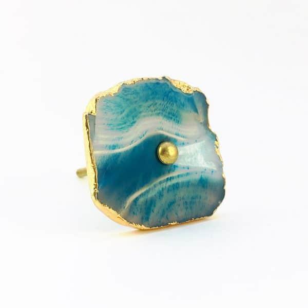 blue turquoise agate knob 11 600x600 - Blue, White, Swirled Agate Sliced Knob