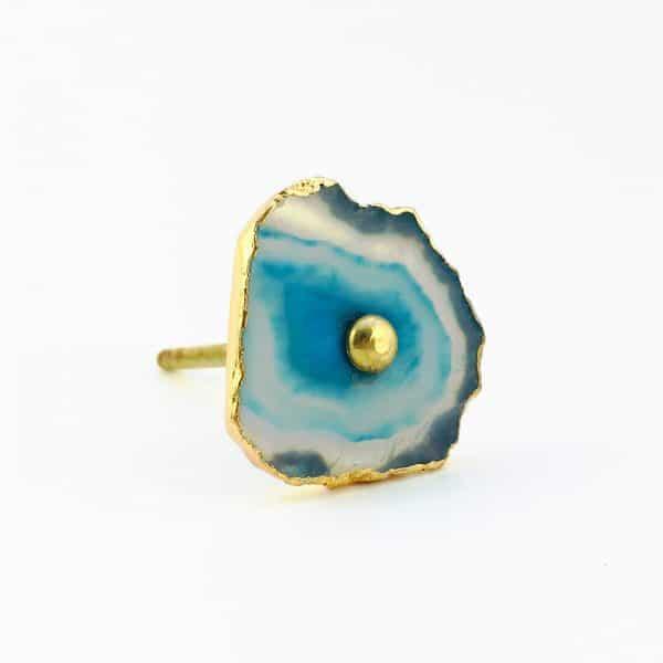 blue turquoise agate knob 12 600x600 - Blue, White, Swirled Agate Sliced Knob