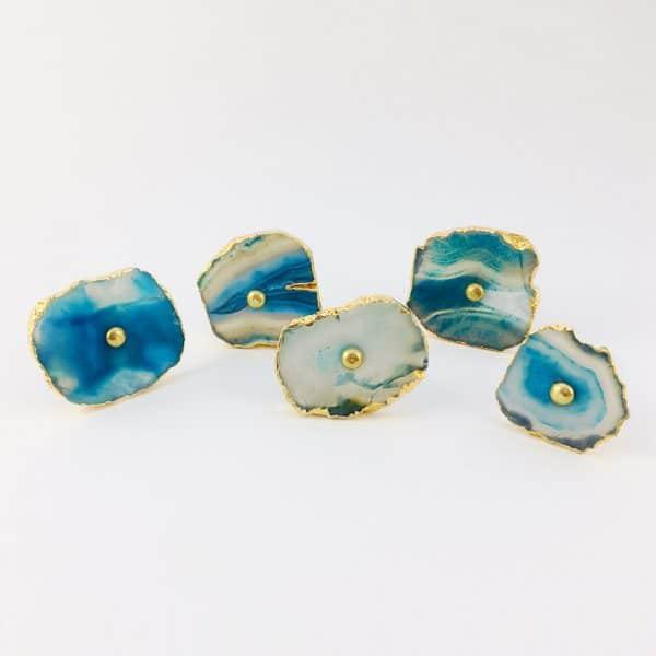 blue turquoise agate knob 2 600x600 - Blue, White, Swirled Agate Sliced Knob