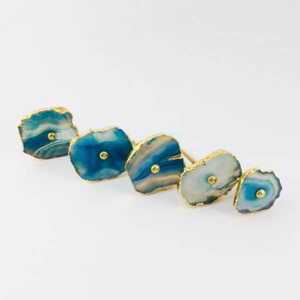 blue turquoise agate knob 3 600x600 - Blue, White, Swirled Agate Sliced Knob