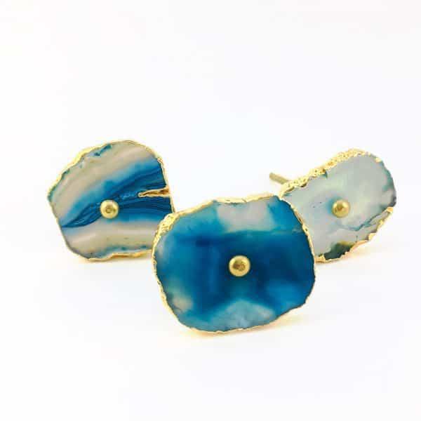 blue turquoise agate knob 4 600x600 - Blue, White, Swirled Agate Sliced Knob