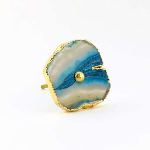 blue turquoise agate knob 5 600x600 - Blue, White, Swirled Agate Sliced Knob