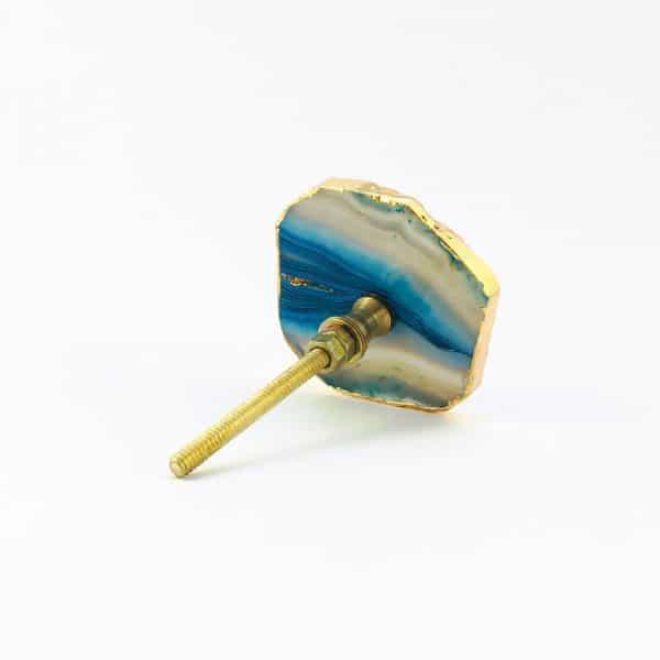 blue turquoise agate knob 7 600x600 - Blue, White, Swirled Agate Sliced Knob