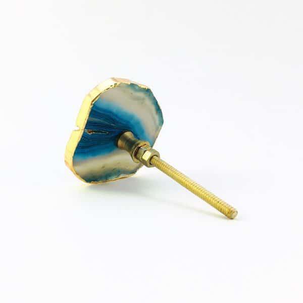 blue turquoise agate knob 8 600x600 - Blue, White, Swirled Agate Sliced Knob