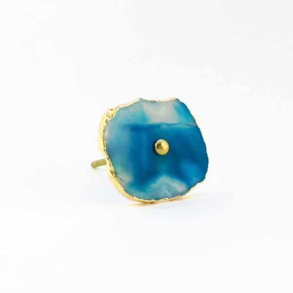 blue turquoise agate knob 9 600x600 - Blue, White, Swirled Agate Sliced Knob