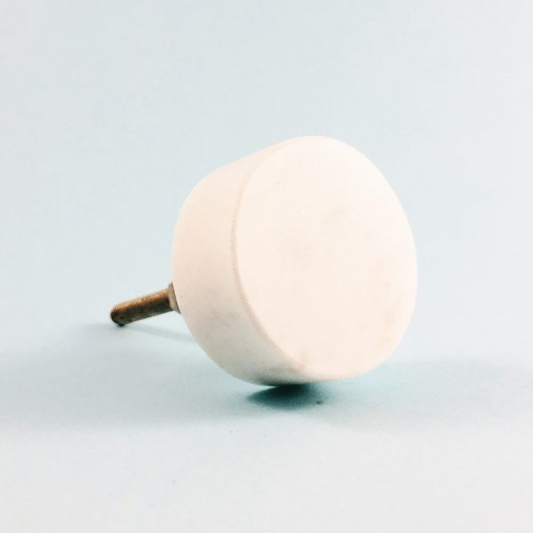 circle solid white marble knob 4 1 600x600 - White Solid Circle Marble Knob