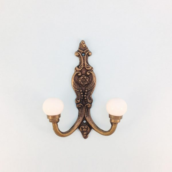 double white wall hook 1 600x600 - Double Vintage Wall Hook - White