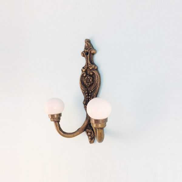 double white wall hook 2 600x600 - Double Vintage Wall Hook - White