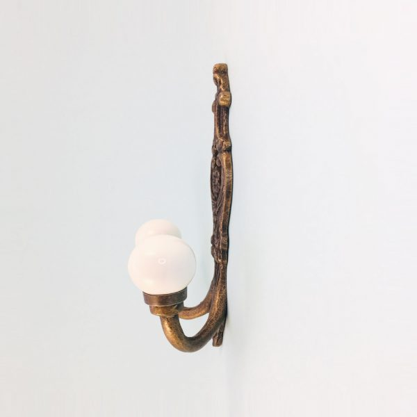 double white wall hook 4 600x600 - Double Vintage Wall Hook - White