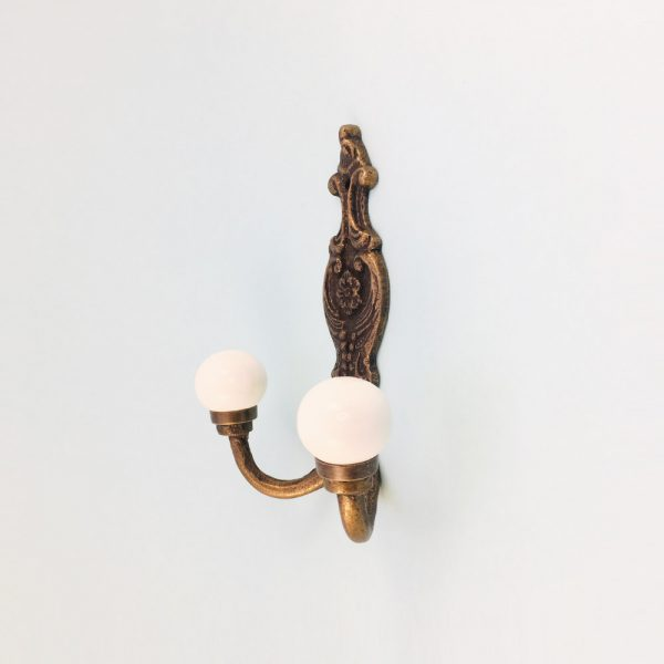 double white wall hook 5 600x600 - Double Vintage Wall Hook - White