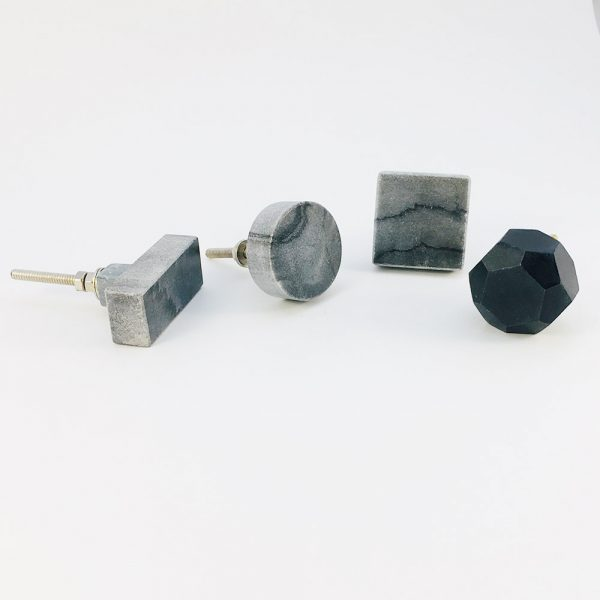 grey marble group 3 600x600 - Grey Solid Rectangle Marble Knob