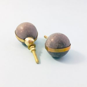 grey marble with brass banding 3 300x300 - Grey Marble Ball with Brass Banding Knob