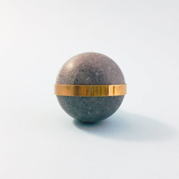 Grey Marble Ball with Brass Banding Knob