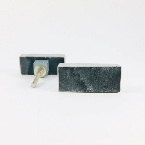 grey rectangle marble knob 1 600x600 - Grey Solid Rectangle Marble Knob