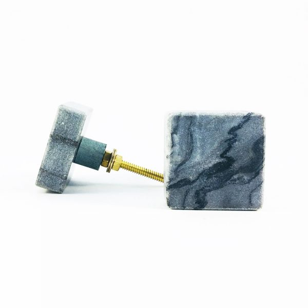 Grey Solid Square Marble Knob