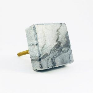 grey square marble knob 6 300x300 - Grey Square Knob with Brass Trim
