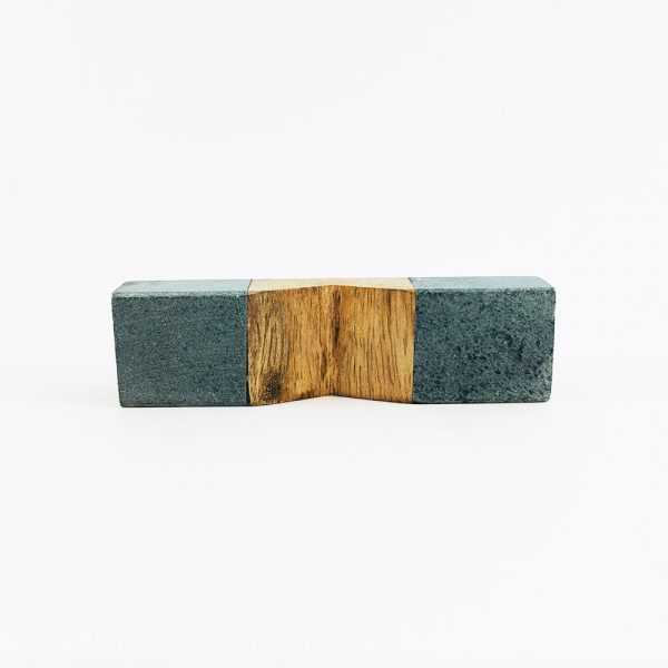 grey stone and wood pull 3 600x600 - Wedged Light Grey Marble and Wood Pull Bar