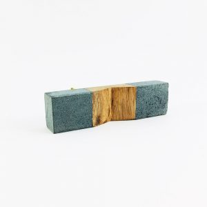 grey stone and wood pull 4 300x300 - Wedged Light Grey Marble and Wood Pull Bar