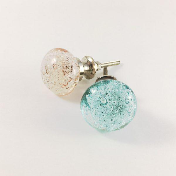 group bubbled knob 3 600x600 - Pink Bubbled Glass Knob