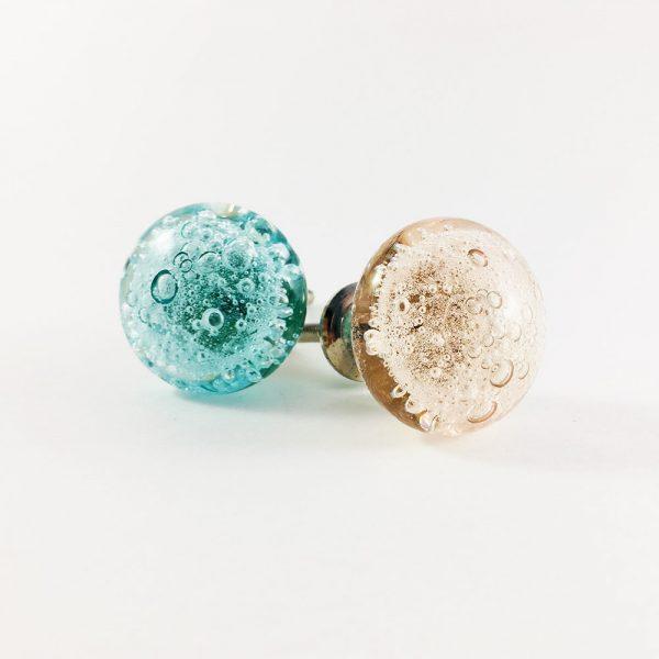 group bubbled knob 4 600x600 - Pink Bubbled Glass Knob
