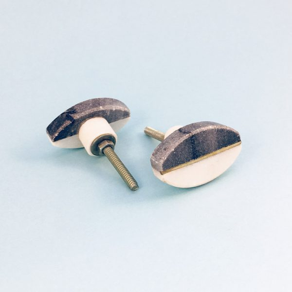 oval marble brass centred knob 5 600x600 - Oval Brass Centred Marble Knob