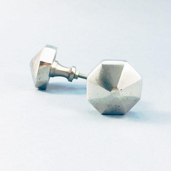 silver iron octagon pyramid knob 4 600x600 - Silver Octagon PrismKnob