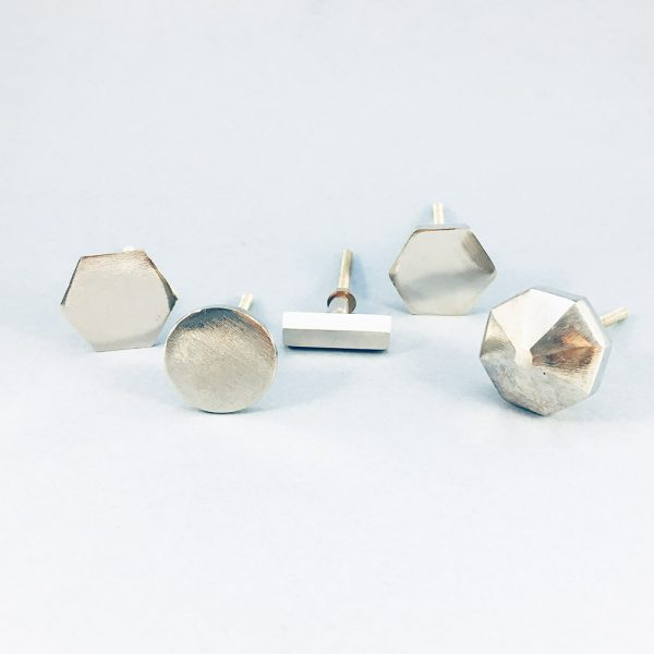 silveri ron group 1 600x600 - Silver Slimline Hexagon Knob