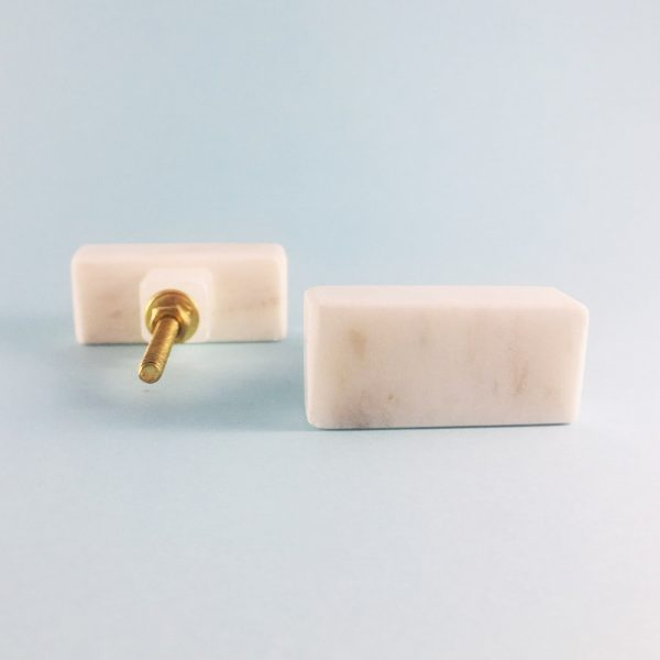 solid rectangle white marble knob 2 600x600 - White Solid Rectangle Marble Knob