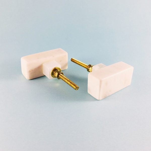 solid rectangle white marble knob main1 600x600 - White Solid Rectangle Marble Knob