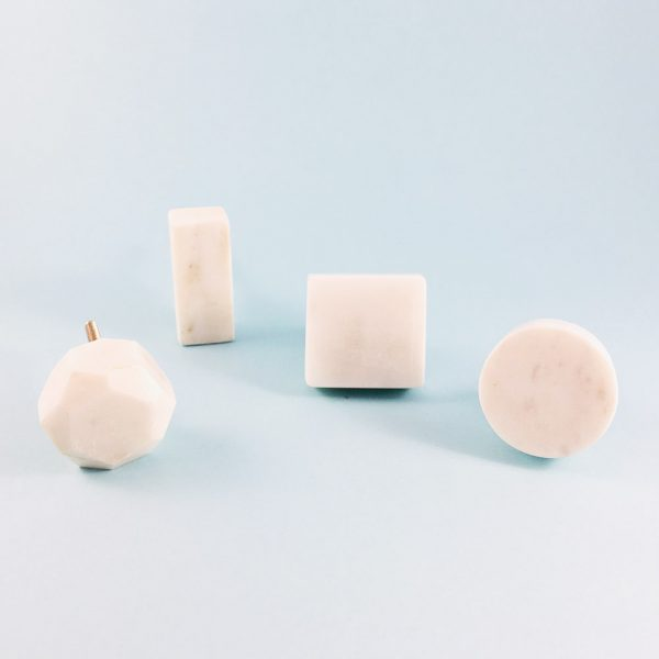 solid white marble collection group 3 600x600 - White Solid Geometric Marble Knob