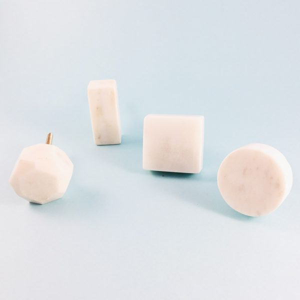 solid white marble collection group 4 600x600 - White Solid Geometric Marble Knob
