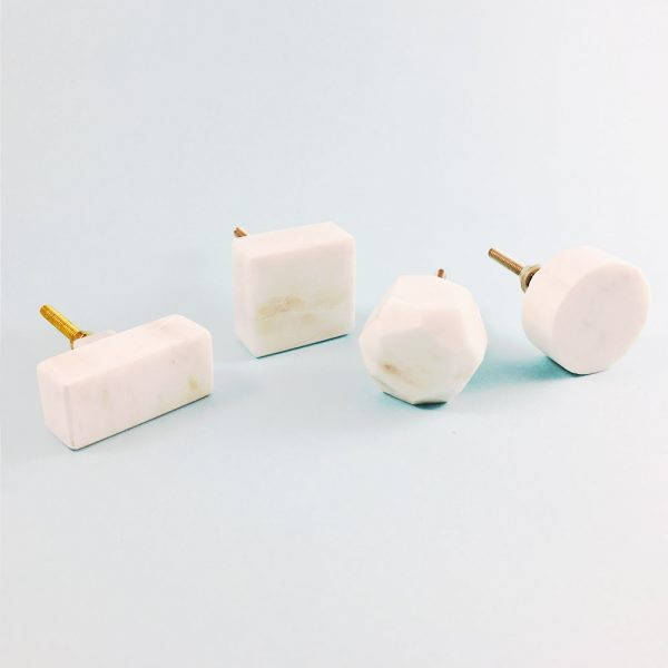 solid white marble collection group main 600x600 - White Solid Geometric Marble Knob