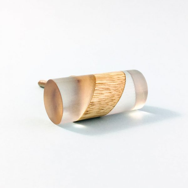 Split Wood and Resin Cylindrical Pull
