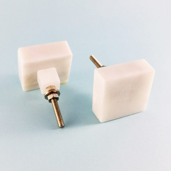 White Solid Square Marble Knob